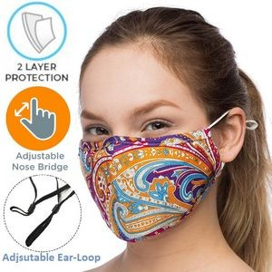 2-Layer Safety Face Mask w/Custom Logo & Adjustable Ear Loop